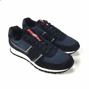 NWT  640 PRADA Men s Navy Suede Nylon Logo 3M Tech Runner Sneakers 7 ... b353761f6