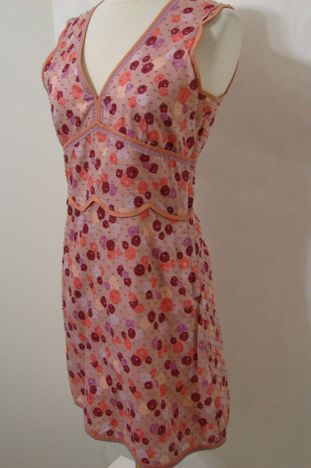MARC JACOBS Cotton Textured Multi-colord Sleeveless Bias Cut Dress NWOT 4