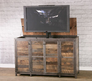 Charmant Details About Reclaimed Wood TV Lift Cabinet. Industrial Media Console W/  Lift. Rustic. Pop Up