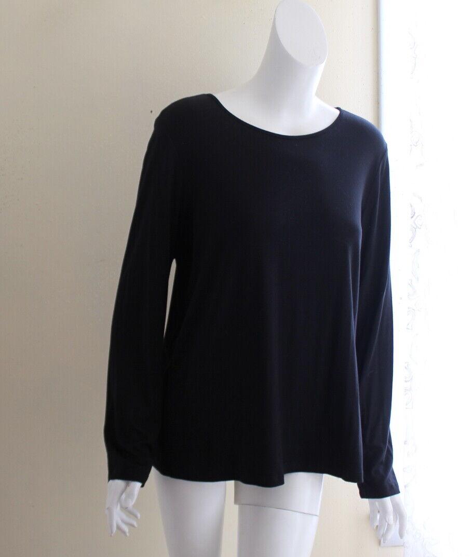 Comfy USA -Sz XL Elegant schwarz Jersey Scoop Neck Long Sleeve Shirt Top