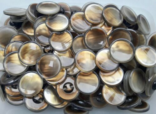 28mm 34mm Golden Amber Brown Clear Brush Effect Polished Shank Buttons Q385A-B