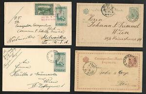 Bosnia-Herzegovina-Lot-of-4-Postal-History-Postal-Cards-Used-1888-1908