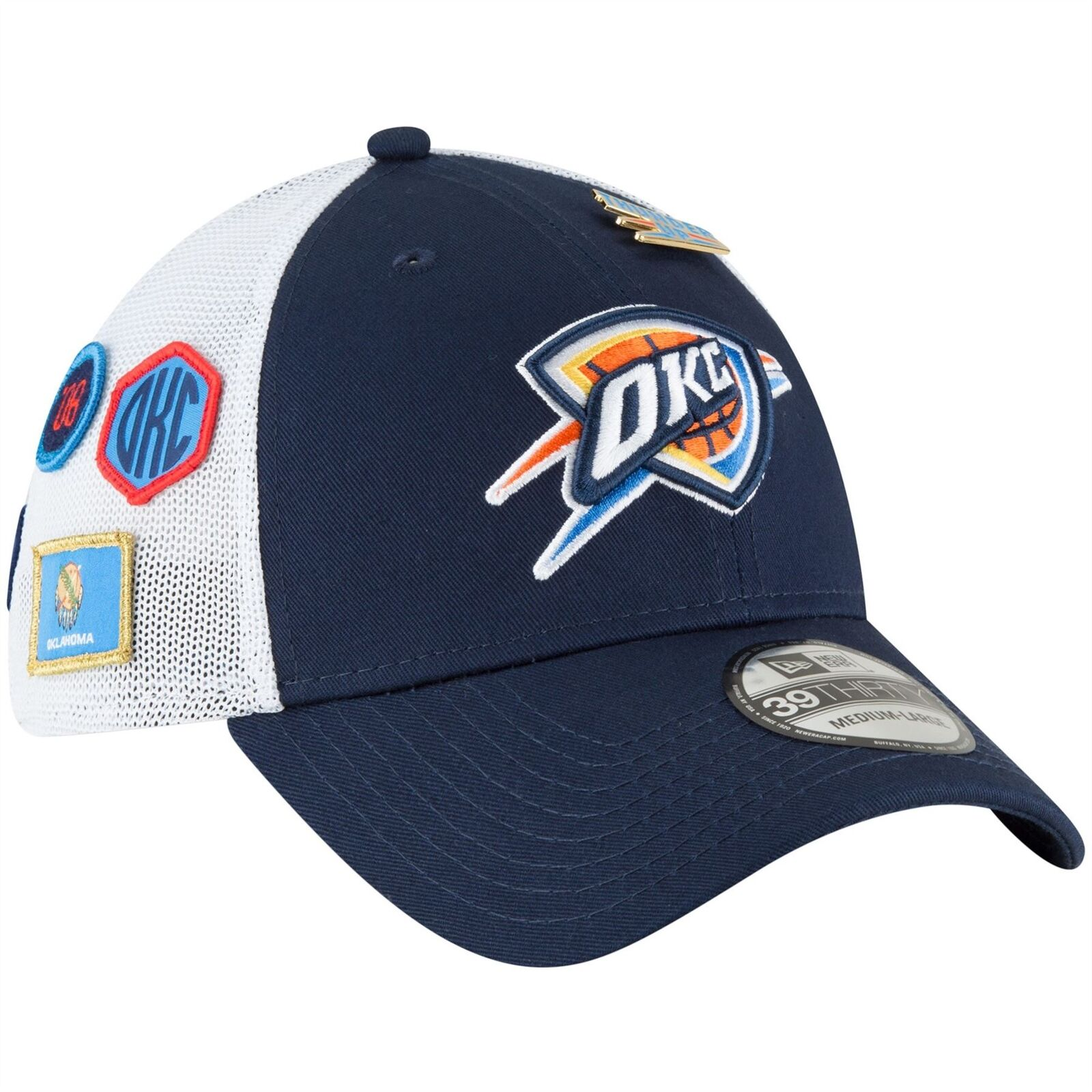 Oklahoma Fitted City Thunder 2018 Draft Hat New Era NBA Fitted Oklahoma Men's 39THIRTY Hat Navy 26357a