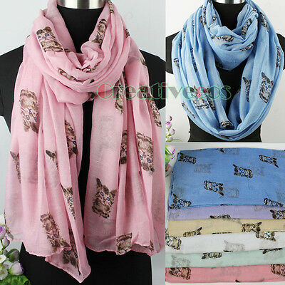Simple Cute Animals Cats Print Long Scarf/Infinity 2Loop Casual Soft Voile Scarf
