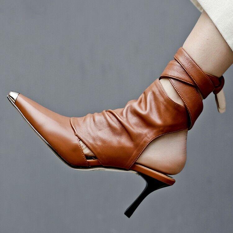 sport caldi Fashion donna Belt Buckle Slim Mid Heels Slingback Slingback Slingback Solid Pointed Toe Ankle avvio  tutti i beni sono speciali
