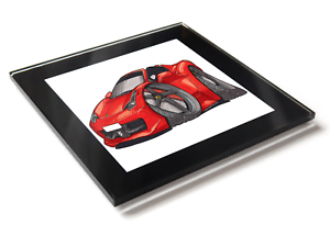 Details about Koolart Cartoon Car Ferrari 458 Spider Glass Table Coaster  With Gift Box