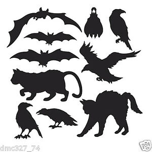 image is loading 10 halloween decorations die cut cutouts halloween silhouettes - Halloween Cat Decorations