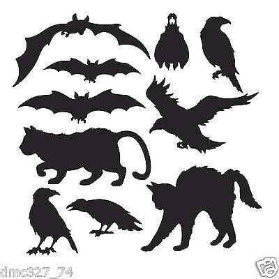 10 HALLOWEEN Decorations Die Cut Cutouts HALLOWEEN SILHOUETTES Bat Cat Crow