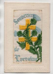 Carte-postale-brodee-Souvenir-de-Lorraine-J1609