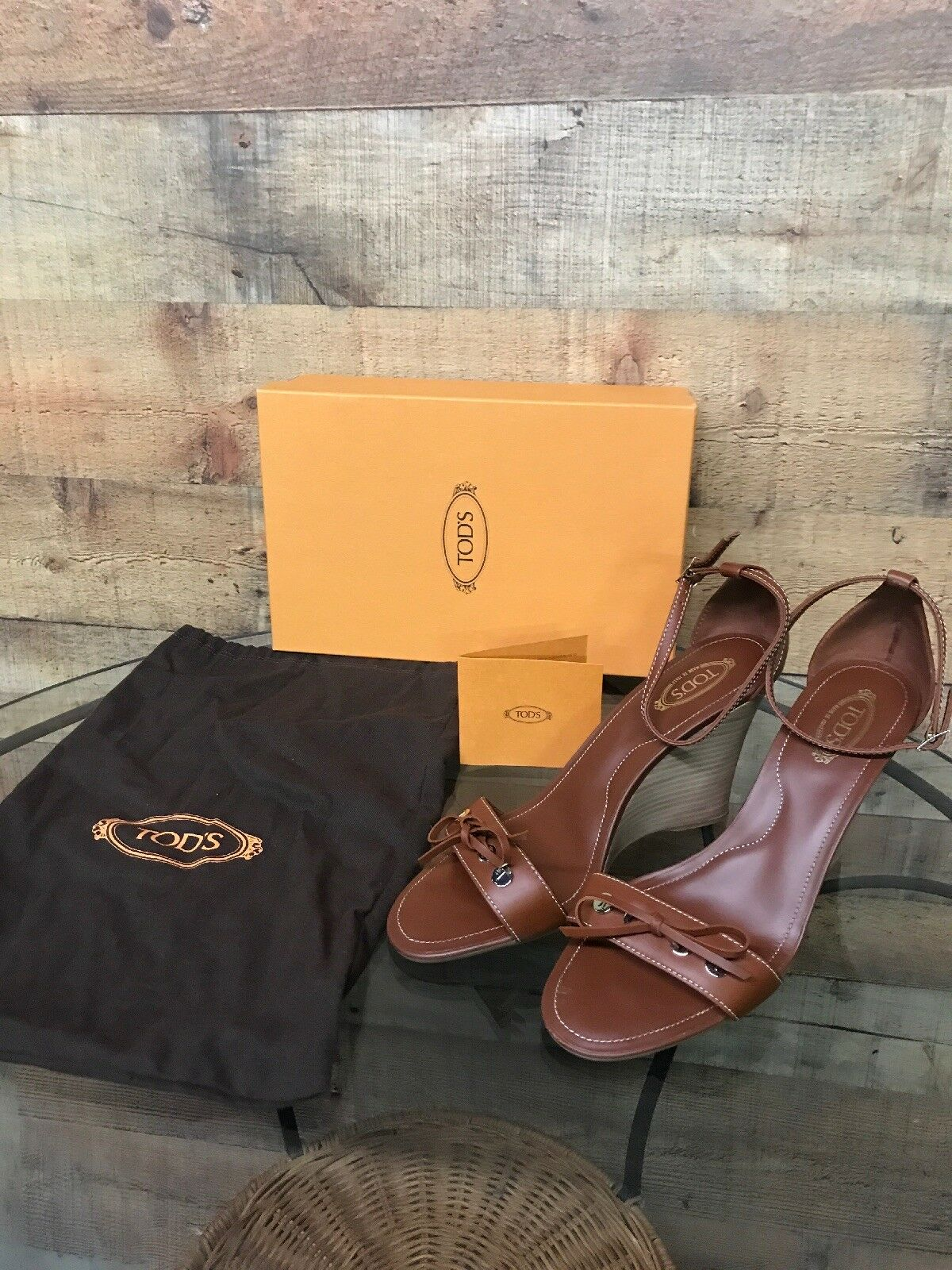 EUC Tods Brown leather Zeppa wedge W Ankle Women sandals size US Size 10 Euro 40