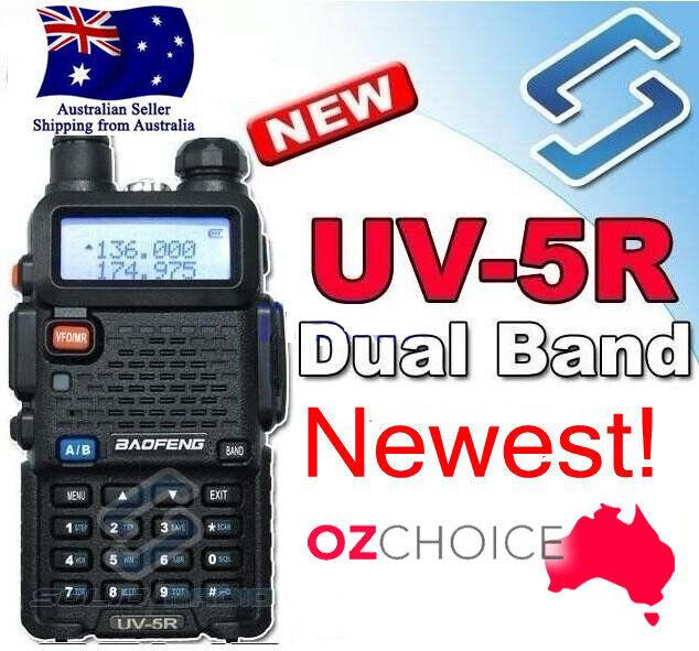 BF UV-5R UHF+VHF Walkie Talkie BAOFENG 5W 2-Way Radio Dual Band Ham