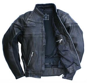 Herren-Biker-Lederjacke-Motorradjacke-Echtleder-Skorpion-Roadstar-Gr-52-schwarz