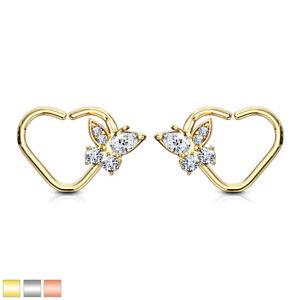 1pc Half Braided Heart Bendable Ear Cartilage Daith Hoop Ring