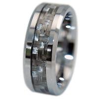 Mens Tungsten Ring Silver Grey Carbon Fiber 8mm Wedding Band No Scratch/tarnish