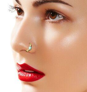 Trendy 8 10mm Septum Blue Stone Titanium Nose Ring Stone