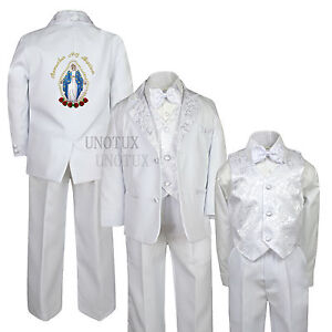 White Baptism Christening Suit Tuxedo w/ Virgin Mary Santa Maria Size Newborn-7