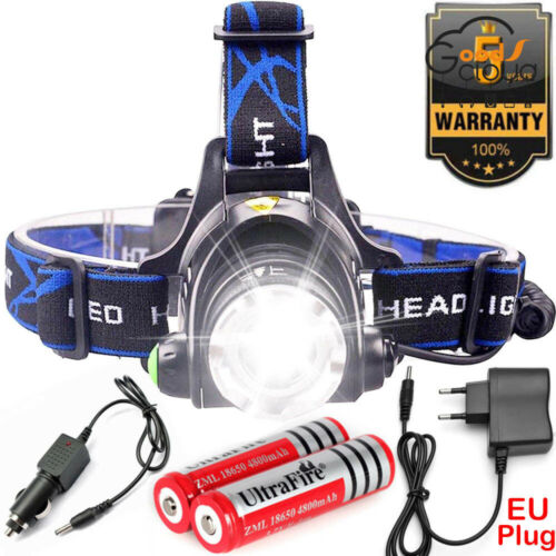 90000LM Zoom T6 Headlamp Headlight Head Lamp Torch Flashlight 2x18650 Charger