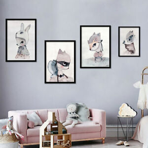 Image Is Loading Fashion Rabbit Poster Cartoon Wall Art Pictures Canvas
