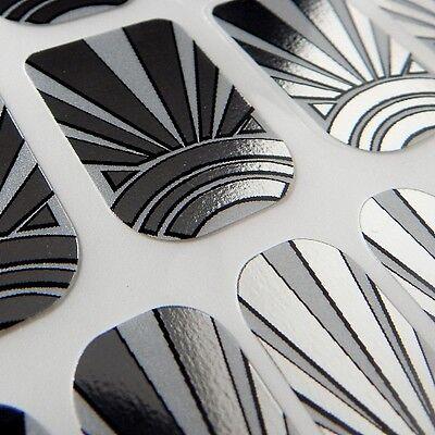 Designer CHIX NAILS Art Deco Silver Chrome Vinyl Nail Wraps Fingers Toes Foils