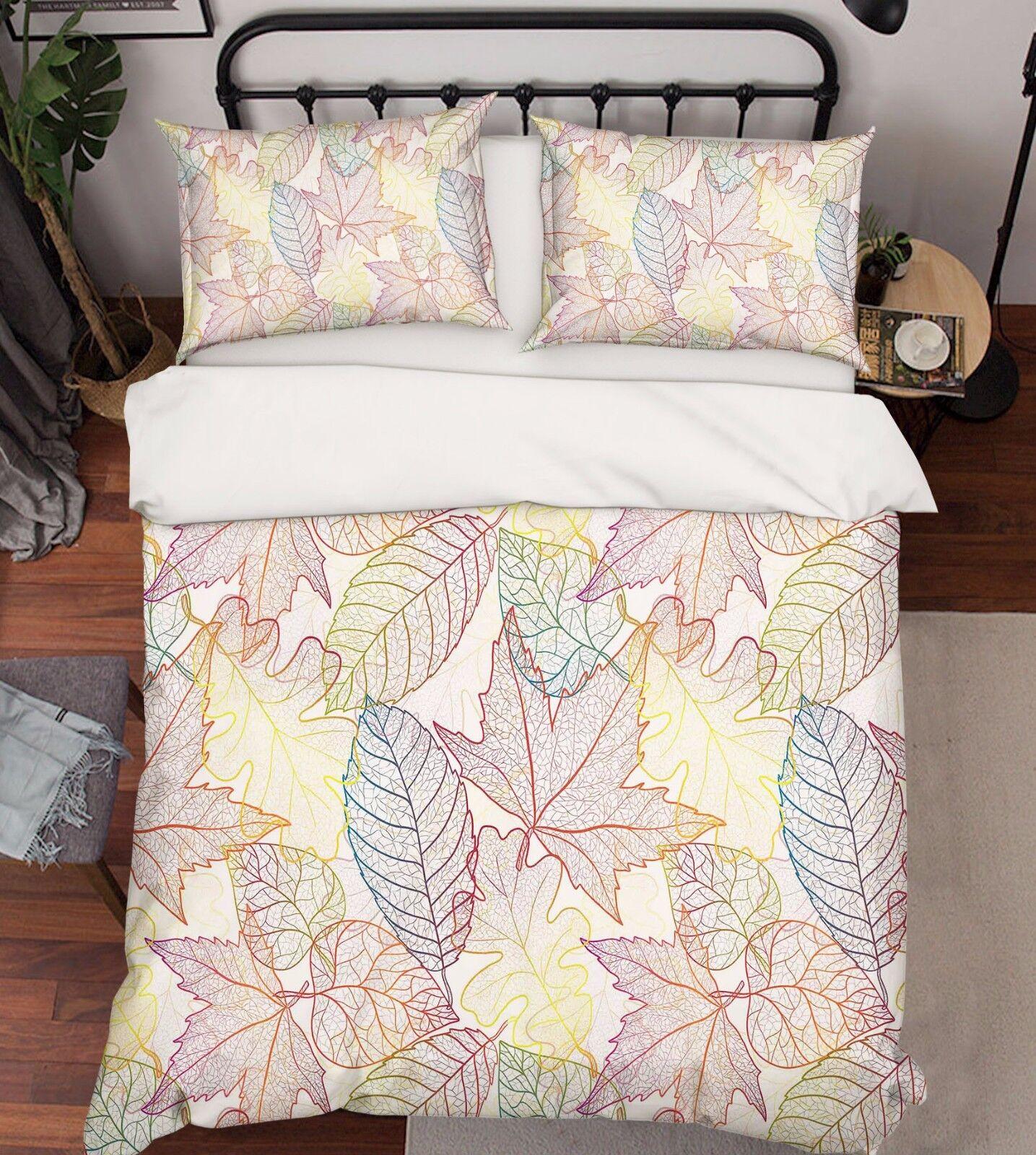 3D Blätter 727 Bett Kissenbezüge steppen Duvet Decken Set Single DE Carly