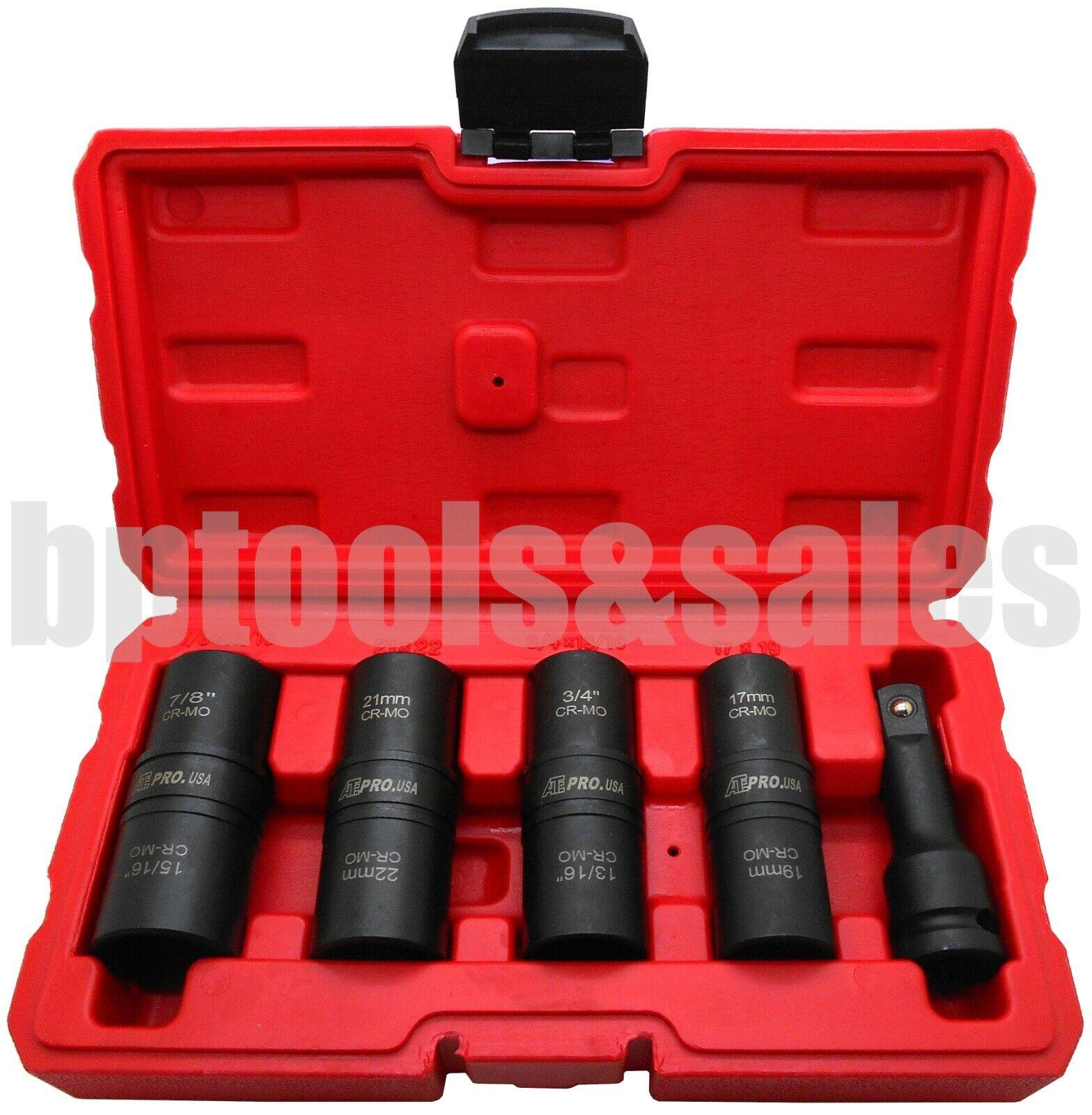 bptools_n_sales 5PC 1/2 DR. THIN WALL FLIP IMPACT SOCKET SET FOR AUTO RIMS TIRES LUG NUTS