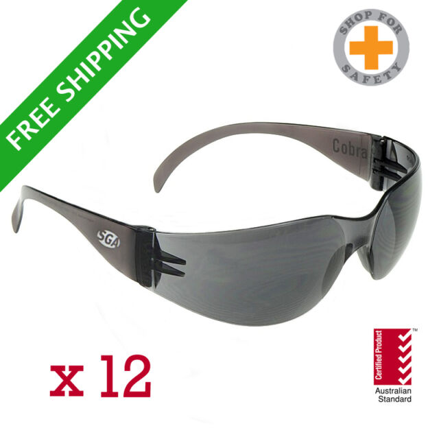 SGA Cobra Safety Glasses Smoke Lens * Bulk Buy * 12 Units * Australian Standards