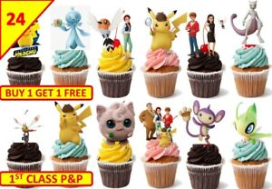 Terrific 48 Pokemon Detective Pikachu Cup Cake Toppers Birthday Party Funny Birthday Cards Online Eattedamsfinfo