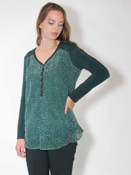 -20% Blause Longshirt Tunika von Simclan, Gr. 40, 42, 44 grün Ausbrenner Samt