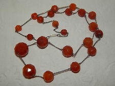 VINTAGE ART DECO CARVED FACETTED CARNELIAN FLAPPER BEADS ON CHAIN ~ 1920s 1930s