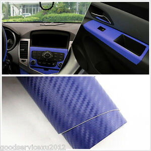 diy dark blue 3d carbon fiber vehicle interior center console vinyl film sticker ebay. Black Bedroom Furniture Sets. Home Design Ideas