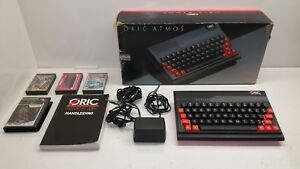ORIC-ATMOS-48K-BOXED-working-with-PSU-Manual-Tapes-Rare-Vintage-computer