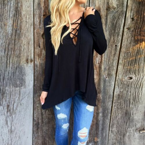 UK STOCK Women Lace Up V Neck Long Sleeve Loose Hooded Pullover Tops Shirt Plus