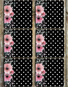 Drink Coasters Set of 6 NEOPRENE Dots and Flowers