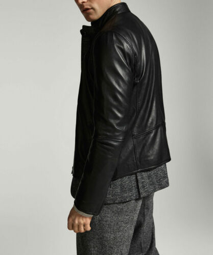 Mens Black Leather Jacket Genuine Sheep Leather Biker Style