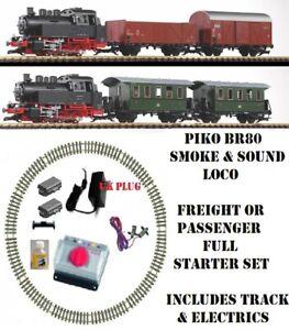 NEW-PIKO-SMOKE-amp-SOUND-G-SCALE-45mm-GAUGE-STARTER-TRAIN-PASSENGER-OR-FREIGHT-SET