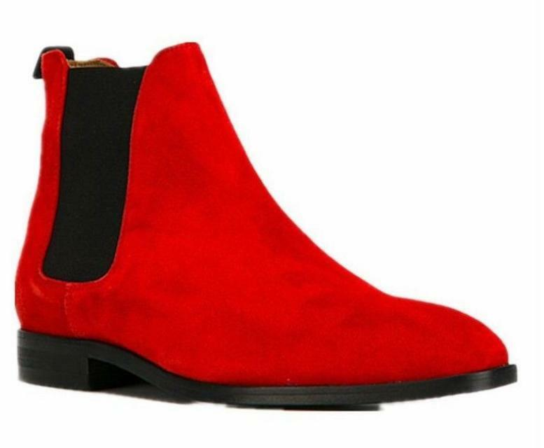 Mens Chelsea Boot Pull On Ankle Boots Real Suede Leather High Top Riding shoes