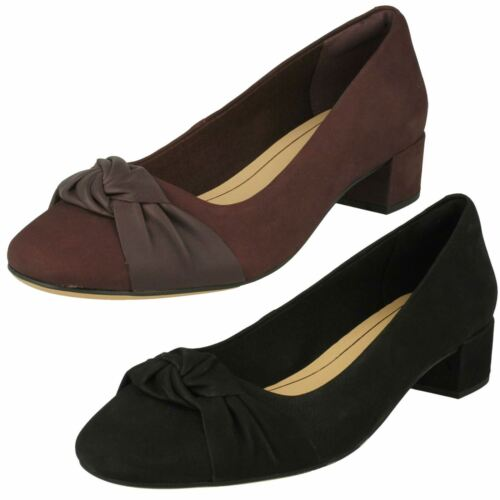 Ladies Clarks Bow Detailed Block Heel Shoes Orabella Lily