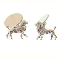 Poodle Silver Cufflinks. Fully Hallmarked Solid Silver Made In England