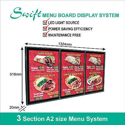 A2 x3 Swift LED MENU BOARD DISPLAY SYSTEM -ILLUMINATED MENU DISPLAY LIGHT BOX