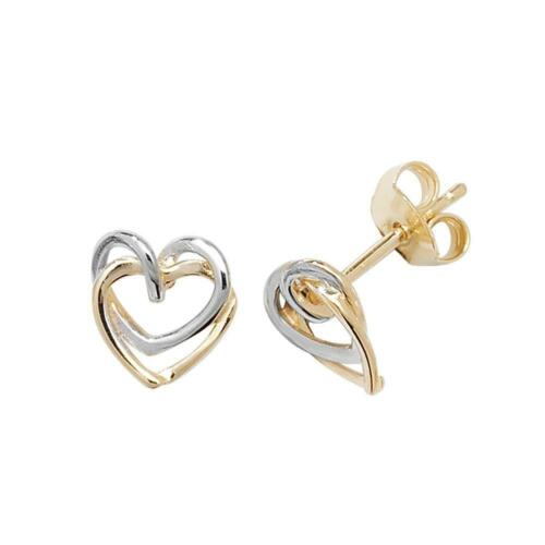 9ct Yellow /& White Gold 6mm Double Heart Stud Earrings 1.0g Hallmarked