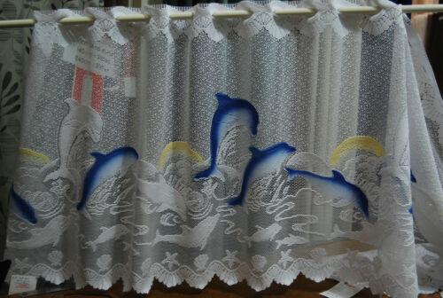 Caravan Kitchen Bath Beachy Dolphin Lace Curtain-Cafe Curtain Buy per metre