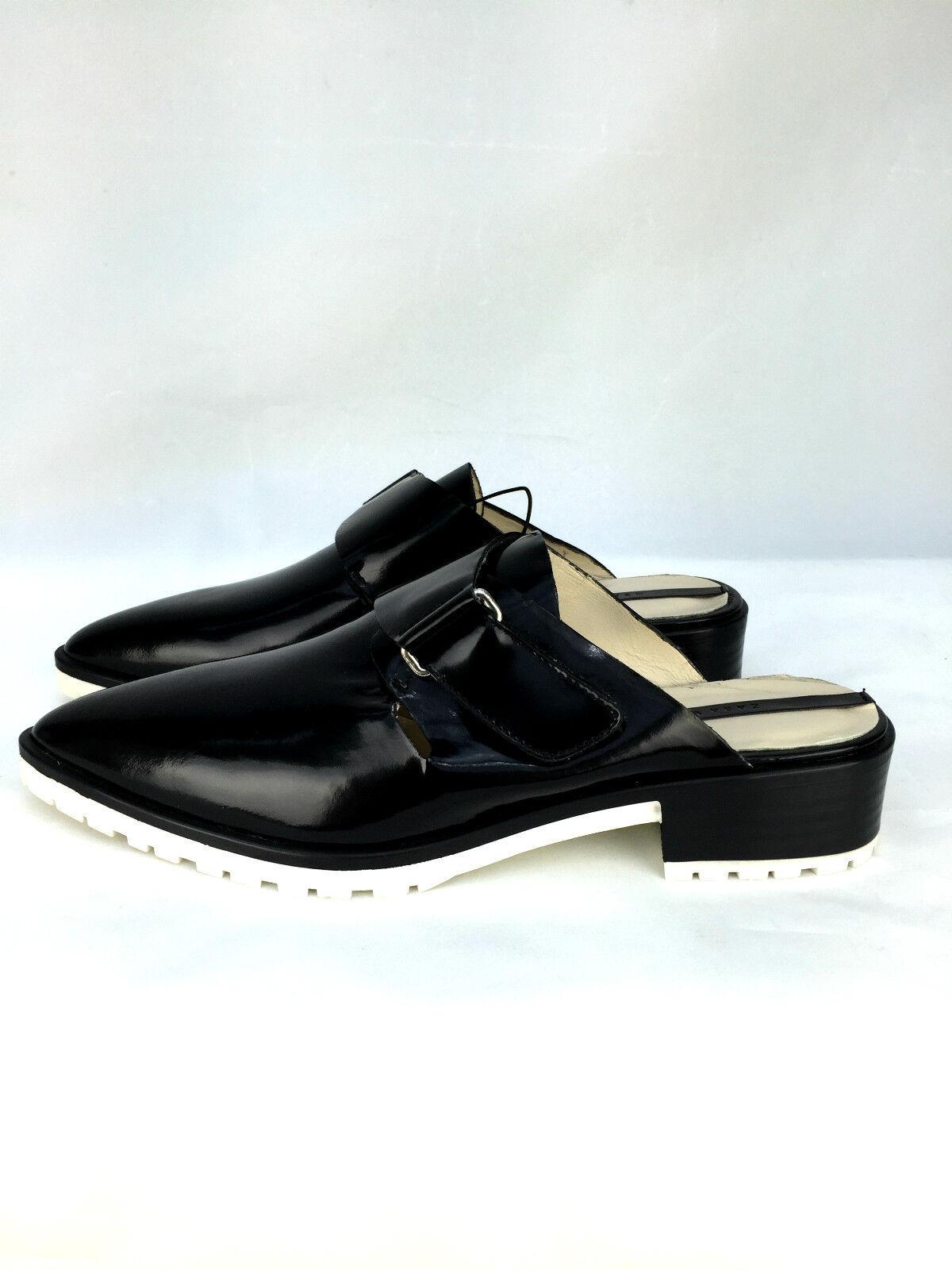 Zara Cuero Negro Destalonado Track Zapatos sin Cordones Planos _ 40 Rrp