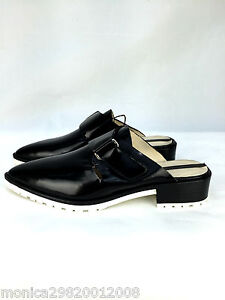 622da49b96c ZARA BLACK LEATHER SLINGBACK TRACK SLIP ON SHOES FLATS SIZE 38 40 ...