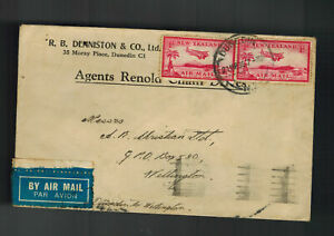 1936-Dunedin-New-Zealand-Airmail-Cover-to-Wellington