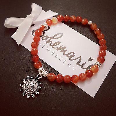 Orange agate sun charm bracelet gemstone summer bijoux jewellery boho