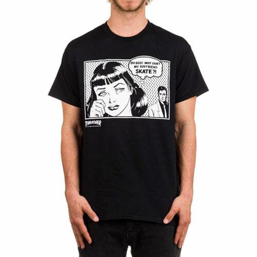 Thrasher Men/'s Boyfriend Short Sleeve T Shirt Black Clothing Apparel Skateboa...