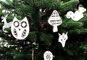 image is loading 10 x wooden christmas tree ornaments decorations woodland