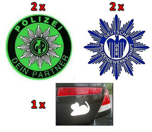 5-Polizei-Aufkleber-Set-2x-gruen-2x-blau-weisse-Maus