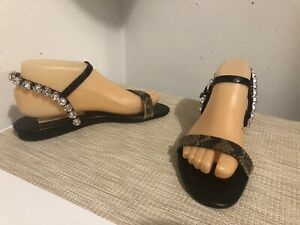 535-size-37-5-US-7-5-Stella-McCartney-Jeweled-Black-Leather-Flat-Sandals-Italy