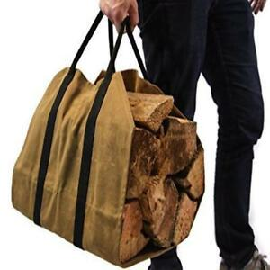 Details About 35 25cm Waterproof Waxed Canvas Firewood Log Carrier Wood Holder Heavy Duty Bag